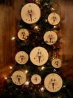= 10 Primitive SNOWMAN SNoWBaLL Glittered WiNTeR Wood CHRiSTMaS Ornaments