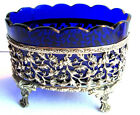 Mini table planter, cobalt blue crystal, gilt bronze carved support Napoleon III