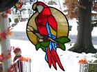 Stained Glass Scarlet Macaw Parrot Sun catcher Real Glass