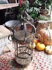 Rustic Primitive Vintage Gothic Iron Hanging Bird Cage GREAT Candle Lantern
