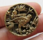 Excellent Antique Victorian Metal Picture BUTTON 2 Parrot Birds in Tree (S29)