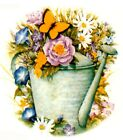 Watering Can Flower Butterfly 2 pcs 3 Waterslide Ceramic Decals Xx
