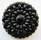 Spectacular LARGE Antique Victorian Pressed Black GLASS BUTTON Faceted (T10)