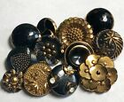 12 Assorted Black Glass Buttons with Gold Luster #2