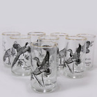 Vintage Anchor Hocking Game Bird Tumbler Set Of 8 Gift Barware Sportsman NOS
