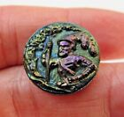 Amazing Antique Victorian Carnival Luster Black GLASS Picture BUTTON 3/4
