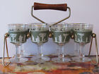 Wedgwood Jeanette 8 Piece Greek Hellenic Green Stem Glass Ware with Carrier