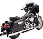 Bassani Chrome Slant Cut Slip On Mufflers for 95 16 Harley Touring FLHT FLHX