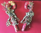 Primitive Set Of 2 Homespun Christmas Fabric Hand Crafted Candy Canes 15 Inches
