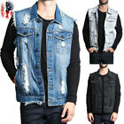 Mens Retro Cotton Sleeveless Man Vintage Vest Jacket Denim Jeans Vest Coat USA