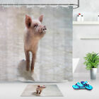 Cute Pig Animals Polyester Fabric Shower Curtains Set Liner Bathroom Accessory