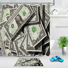 One Dollar Bills Polyester Fabric Shower Curtains Set Bathroom Accessory Hooks