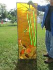 Vtg Stained Glass Window Hanging Nautical Design Shells 55 by 19 Inches #8 nr