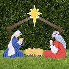 Nativity Manger Scene Indoor Outdoor Display Christmas Decor with Baby Jesus