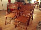 Mid-century bamboo folding chairs rattan wicker vintage tiki lot 4 wood