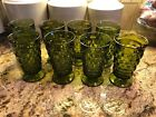 Vintage Indiana Glass Green IcedTea Glasses Set 8 Footed Whitehall Colony 14 oz