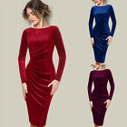 Fashion O-neck Women Velvet Long Sleeve Elegant Bodycon Stretch Slim Party Dress