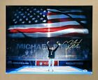 MICHAEL PHELPS US FLAG OLYMPIC SWIMMING AUTO SIGNED 20x16 GLOSSY PHOTO PSA DNA