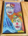 Vintage Mid Century Modern Impressionist Painting Abstract Clowns Framed