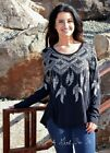 VOCAL CRYSTAL BLACK AZTEC NATIVE FEATHER LIGHT BAMBOO SHIRT TUNIC USA S M L XL