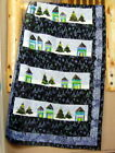 Over the Rooftops Quilt Pattern Pieced Houses  Foundation Pieced Trees