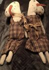 PRIMITIVE Folk Art Snowman Handcrafted Boy And Girl Twins