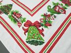 Vintage Print Christmas Motif Cutter Tablecloth Cotton Holly Bells