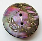 Vibrant Antique~ Vtg Dyed Carved MOP Shell BUTTON Incised Bird Design 15/16