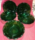5 Vintage  ANCHOR HOCKING EMERALD/FOREST GREEN DIAMOND SWIRL BOWLS