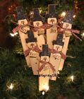 = 7 Glittered SNOWMEN w HAT Brr Tag Sign Primitive Winter Christmas Wood Ornies