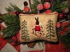 Primitive tiny Sampler Pillow ~Folky Ms. Rabbit Skiing~ Pines Folk Art Christmas