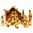 Carvers Art Traditional Olive Wood Nativity Set with Stable and 3 D Palm Tree