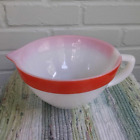 Fire King Milk Glass Red Colonial Band Stripe Mixing Batter Bowl