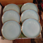 Fire King Turquoise Blue Milk Glass with Gold Rim Snack Plates Set of 6