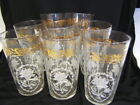 Vintage Federal Glass 8 Drinking Glasses White Flower Cameo w/Gold Flowers