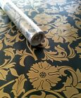 9ft x 18 Black Gold Toile decorative self adhesive contact paper peel