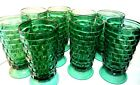 Set 9 Indiana Cubist Pattern TEAL AQUA GREEN Water Glasses Goblets Whitehall 6