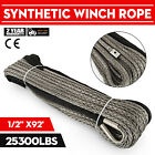 92ft*1/2'' Synthetic Winch Rope Winch cable Synthetic Fiber Helicopter  Winch