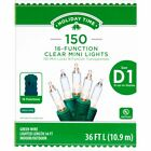 New  Holiday Time 16 Function 150 Clear Mini Lights 36 FT Long Green Wire