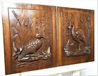 Pair bird hunting scene panel Antique french carved wood architectural salvage