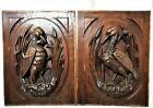 Pair black forest hunting panel Antique french wooden architectural salvage
