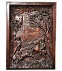 Medieval gothic hunting scene panel Antique french wooden architectural salvage