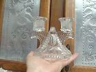 (2) Vintage Federal Glass Wigwam/Windmill Double Candle Holder #2826 c.1940's