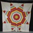 antique quilt lone star patchwork red green yellow white signed dated 1903