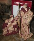 VTG CHRISTMAS LARGE PAPER MACHE NATIVITY SET JOSEPH CONE MARY JESUS FIGURE RARE