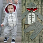 US Cotton Kids Baby Boy Hoodie Clothes T shirt Tops Pants Outfits Set Tracksuit