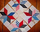 Vintage Lot of 4 Star of Lemoyne Quilt Blocks 1880-20's Cotton Prints