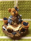 BOYDS BEARS BLUEBEARY JAR CANDLE TOPPER BLUEBERRY VERY GOOD COND.
