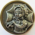 Spectacular X LARGE Antique Metal Picture BUTTON Victorian Girl w/ Umbrella (P)