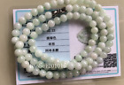 5mm  Certified Natural Untreated Light Green Jadeite Jade Round Beads Necklace G